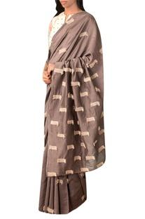 Grey handwoven thread texture chanderi saree