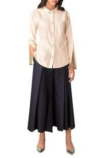 Ivory handwoven chanderi collar shirt