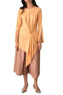 Tangerine yellow handwoven cotton silk blouse