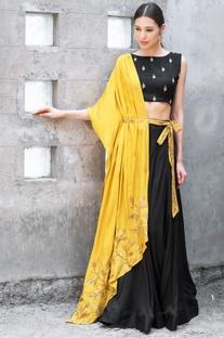 Mustard & black satin cotton sequin & zari work lehenga with blouse