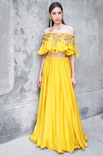 Mustard satin cotton sequin & zari work skirt with off-shoulder blouse