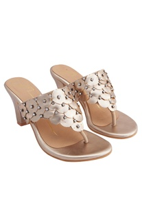 Rose gold genuine leather sole hand embroidered & 3D petal embellishment block heels