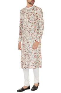 Off white cotton silk embroidered kurta with cotton lycra churidar