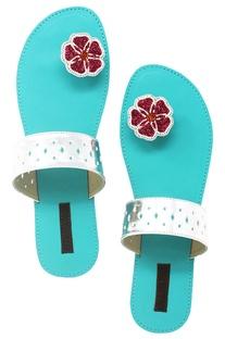 Turquoise floral beadwork paduka sandals