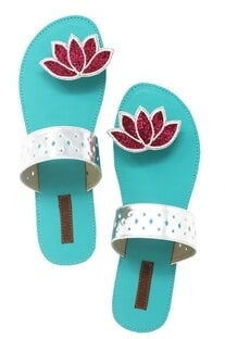 Turquoise lotus beadwork paduka sandals