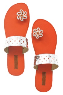 Red & silver paduka sandals