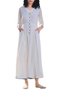 Ivory cotton handcrafted threadwork midi dress