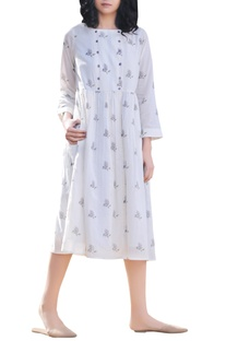 Ivory & white cotton handblock printed dress