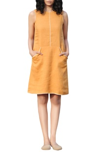 Yellow linen hand thread embroidered shift dress