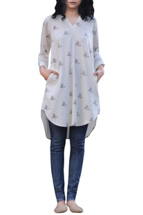 Ivory hand block floral printed asymmetric tunic