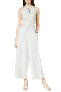 White linen handwoven trousers