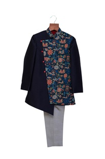 Navy blue & grey cotton silk printed sherwani with pants