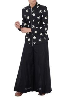 Black cotton linen tulip print jacket