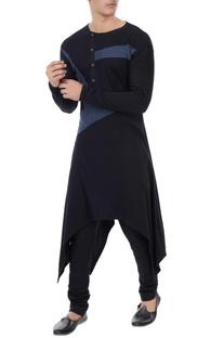 Black jersey color-blocked handkerchief hemline kurta
