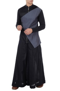 Black poplin asymmetric flap shirt