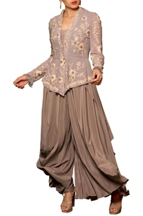 Grey crepe & georgette machine & hand embroidered draped jumpsuit with jacket