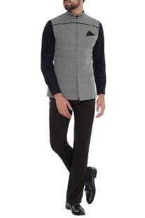 Grey & black check bundhi jacket with leather detail yoke