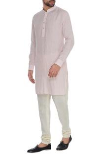Baby pink linen shirt style kurta