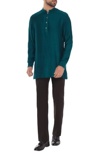 Peacock green criss-cross jacquard shirt kurta