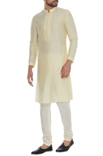 Yellow minimal cotton silk kurta with churidar