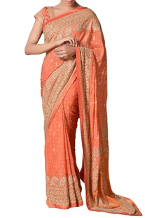 Coral chinon silk embroidered saree with unstitched blouse