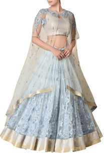 Powder blue floral embroidered lehenga set
