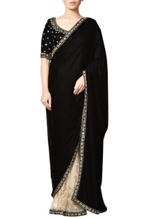 Black & off-white thread embroidered velvet saree with blouse and floral motifs