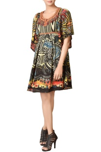 Black printed dress with embroidered neckline