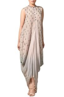 Multicolored lurex silk draped cowl kurta