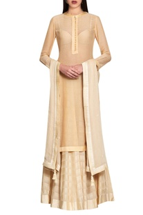 Beige cotton viscose & georgette hand embroidered kurta with lehenga & dupatta