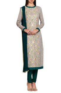 Teal green & neutral block printed silk voil & cotton gota and thread embroidered kurta with churidar & dupatta