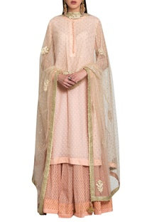 Peach pink georgette & block printed silk voil thread & sequin embroidered kurta with lehenga & dupatta