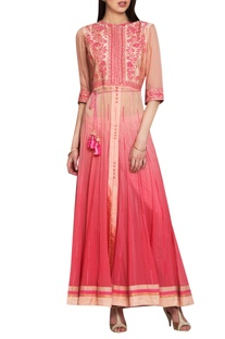 Shaded pink silk & chiffon thread work kurta with churidar