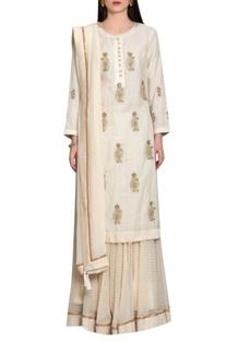 Off white rust chanderi & block printed silk work zardozi kurta with lehenga & dupatta
