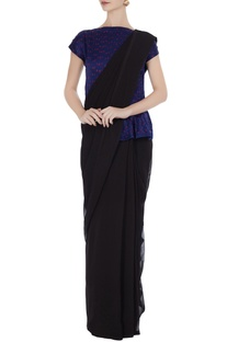 Navy blue silk bhandani top styled blouse.