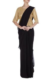 Gold cotton peplum style saree blouse