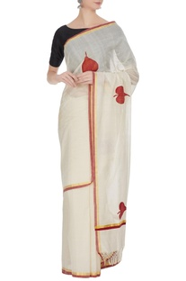 Cream & red handloom cotton zari saree with unstitched blouse