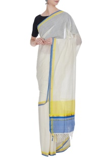 Cream handloom cotton saree with multicolored borders & unstitched blouse