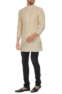 Khadi short kurta with chinese collar