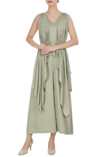 Mint green satin modal cascade jumpsuit