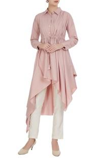 Blush pink poplin asymmetric tunic