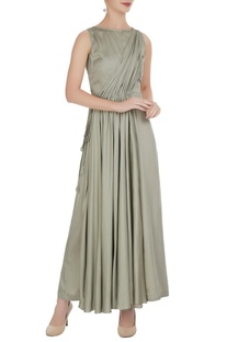 Mint green satin modal pleated jumpsuit