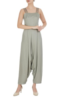 Mint green satin modal cowled jumpsuit