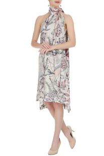 White satin modal printed aura halter asymmetric dress