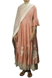 Pink soft silk thread embroidered anarkali kurta with off white dobby dupatta