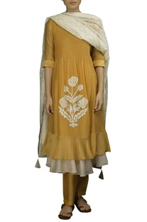 Mango yellow chequered kora thread work layered dress with off white dobby dupatta