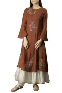 Burgundy cotton linen embroidered layered kurta dress