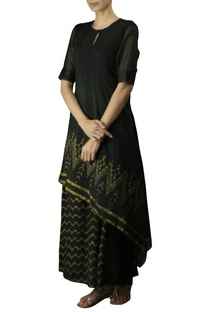 Bottle green cotton silk embroidered double layered dress