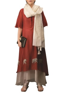 Burgundy & off white chequered kora & dobby embroidered dress with dupatta