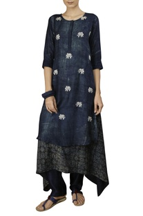 Indigo cotton silk fish print three tiers anarkali kurta